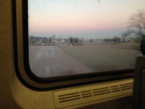 sunrise on the train